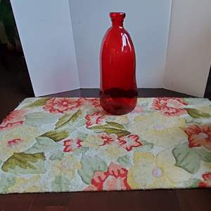 Auction Thumbnail for: Lot #166 - Ruby Red Glass Vase and Norison Hand Hooked Rug 2.5x4