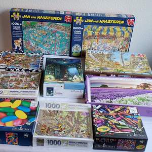 Auction Thumbnail for: Lot #151 - Ten 1000 Pc. Puzzles, Dutch Jan vanHaasteren and More. Pieces seem to be complete