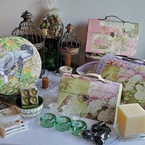Auction Thumbnail for: Lot #162 -  Decorative Boxes, Candle Holders and Wire Bird Cages