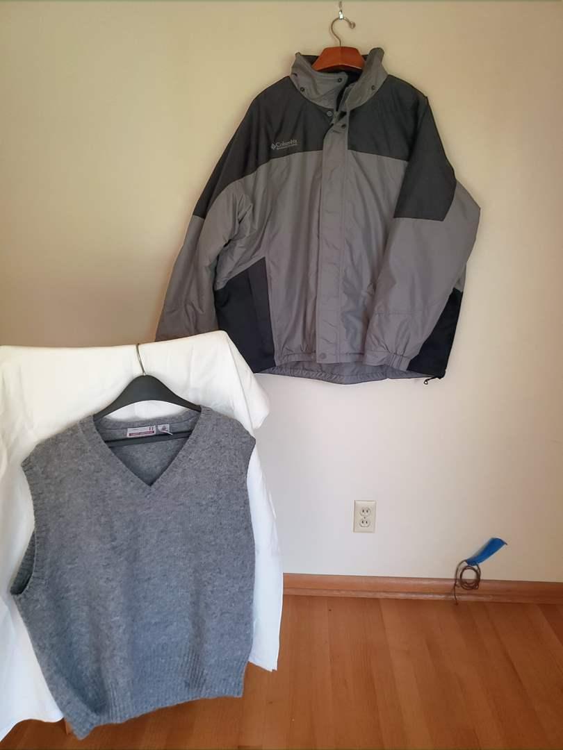 Lot # 84 - Men's Columbia Weather Proof Jacket * Wool Men's Vest (main image)
