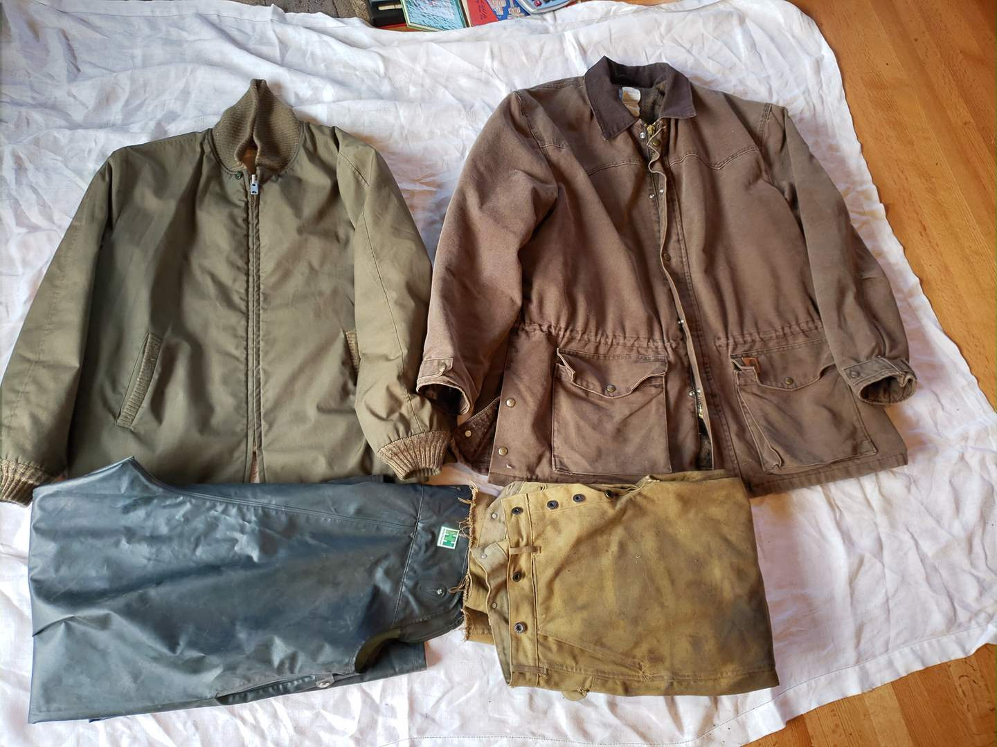 Lot # 107 - Carhart * Vtg Filson's * Helly Hansen * Jackets * WaterProof Bibs * Work Pants (main image)