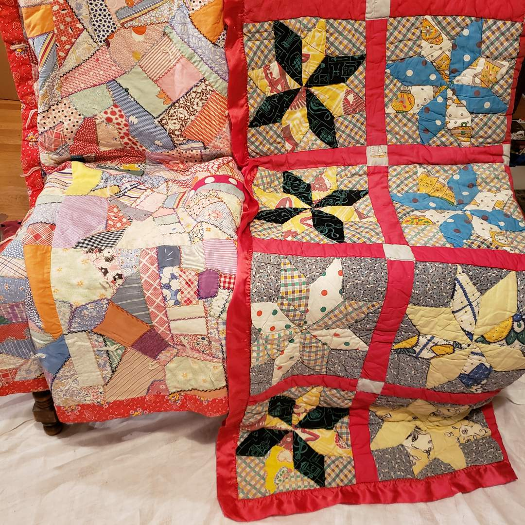 Lot # 118 - Two Vintage Quilts * Fun and Colorful Pieces (main image)