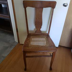 Lot # 122 - Very nice Caned Antique Chair * HUGE White Table Cloth * Table Pad Fabric *