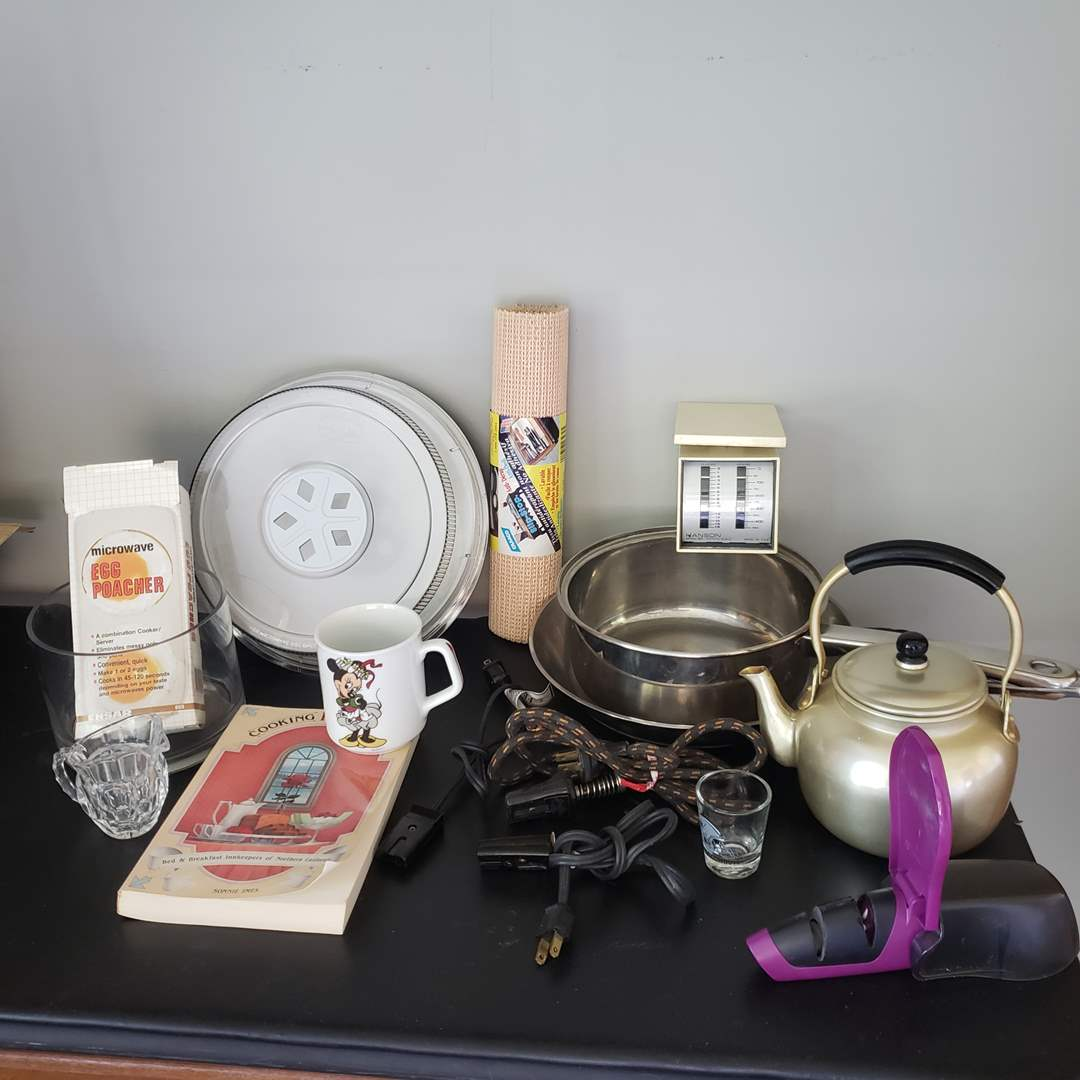 Lot # 124 - Misc Kitchen Lot * Mickey Mouse Mug * Knife Sharpener * Pans * Scale (main image)