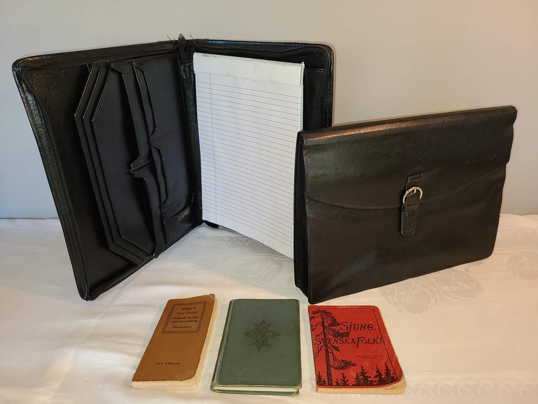 Lot # 133 - Leather Zippered Accordian File & Zippered Notebook * Sjung, Svenska Folk! * Swedish-English Pocket Dictionary   (main image)