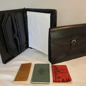 Lot # 133 - Leather Zippered Accordian File & Zippered Notebook * Sjung, Svenska Folk! * Swedish-English Pocket Dictionary