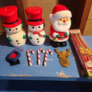 Lot # 152 - Vintage Christmas  * 2 Snowmen & 1 Santa Candles
