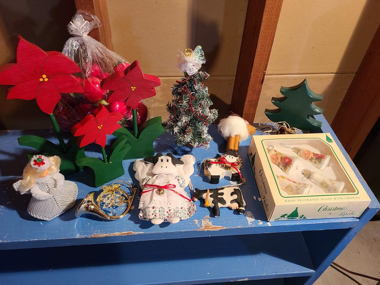 Lot # 154 - Misc. Christmas Lot * Cow Ornaments * Wooden Poinsettias  (main image)