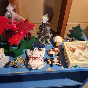 Lot # 154 - Misc. Christmas Lot * Cow Ornaments * Wooden Poinsettias