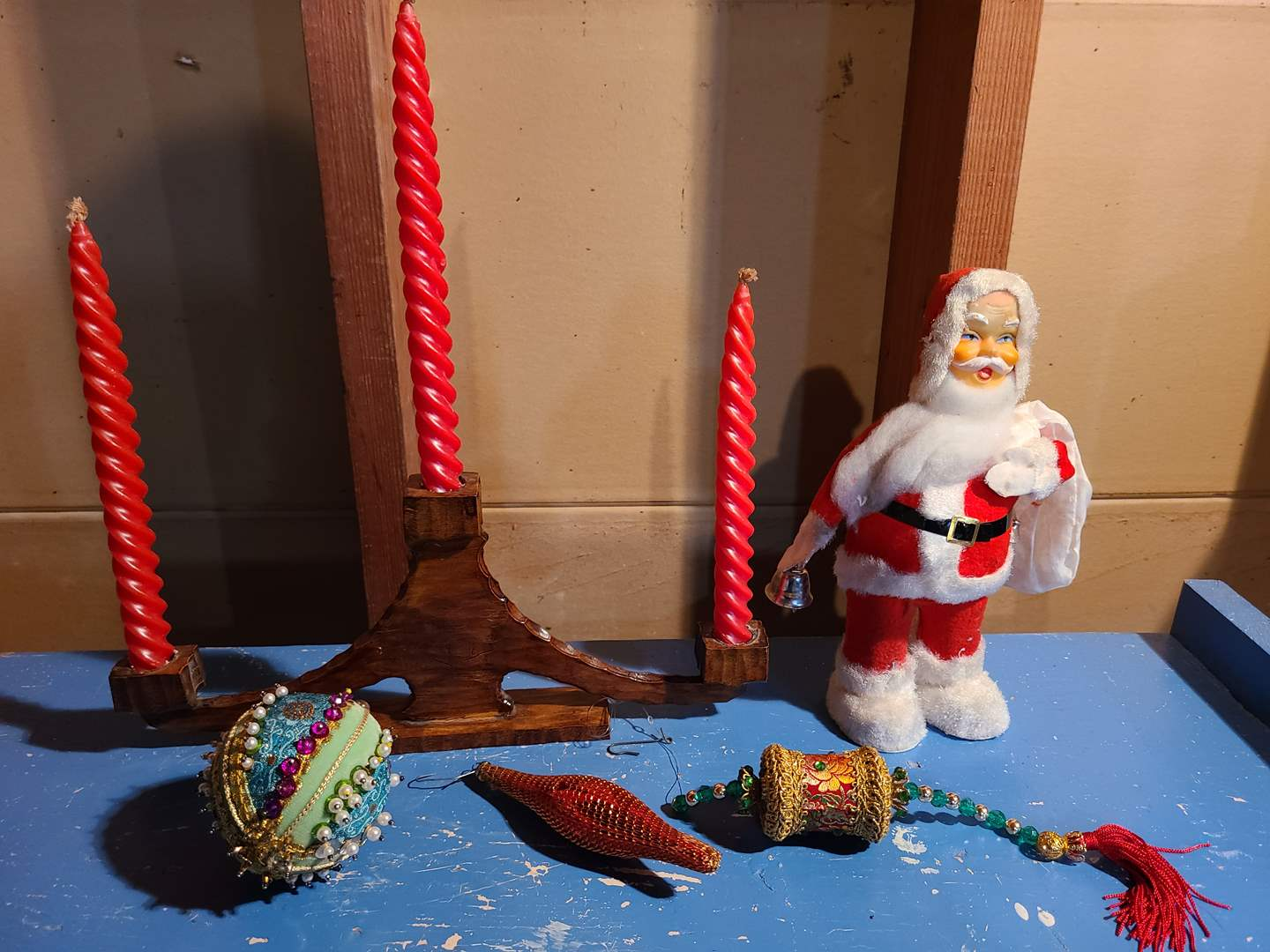 Lot # 155 - VINTAGE WIND UP SANTA RINGS A BELL - WORKING! * Beautiful Wooden Candle Holder with 3 Matching New Red Candles (main image)