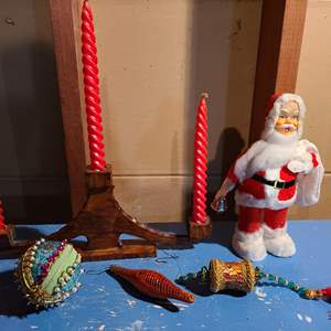 Lot # 155 - VINTAGE WIND UP SANTA RINGS A BELL - WORKING! * Beautiful Wooden Candle Holder with 3 Matching New Red Candles