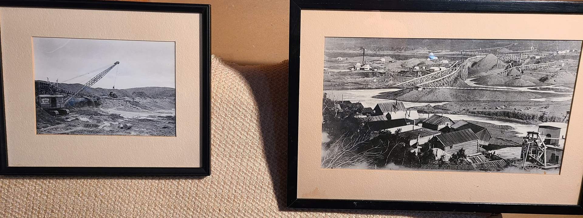 Lot # 159 - 2 Mining Scenes * Discovery Ottercreek 1914 * Iditarod Alaska early 1900's * Framed with Glass *  (main image)
