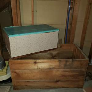 Lot # 139 - Vintage Lided Trunk * Wooden Crate with Metal Handles