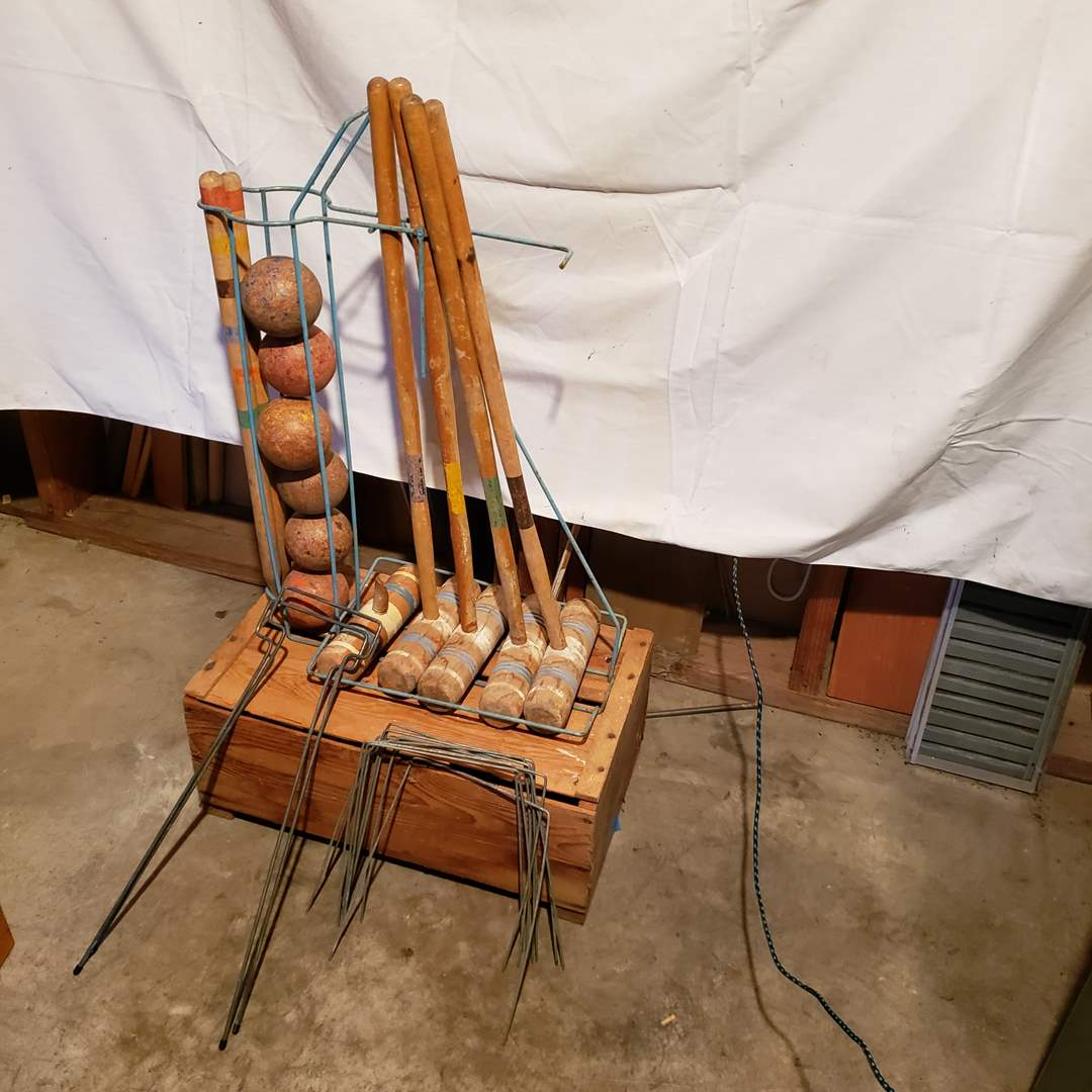 Lot # 141 - Vintage Croquet Set with Metal Stand (main image)