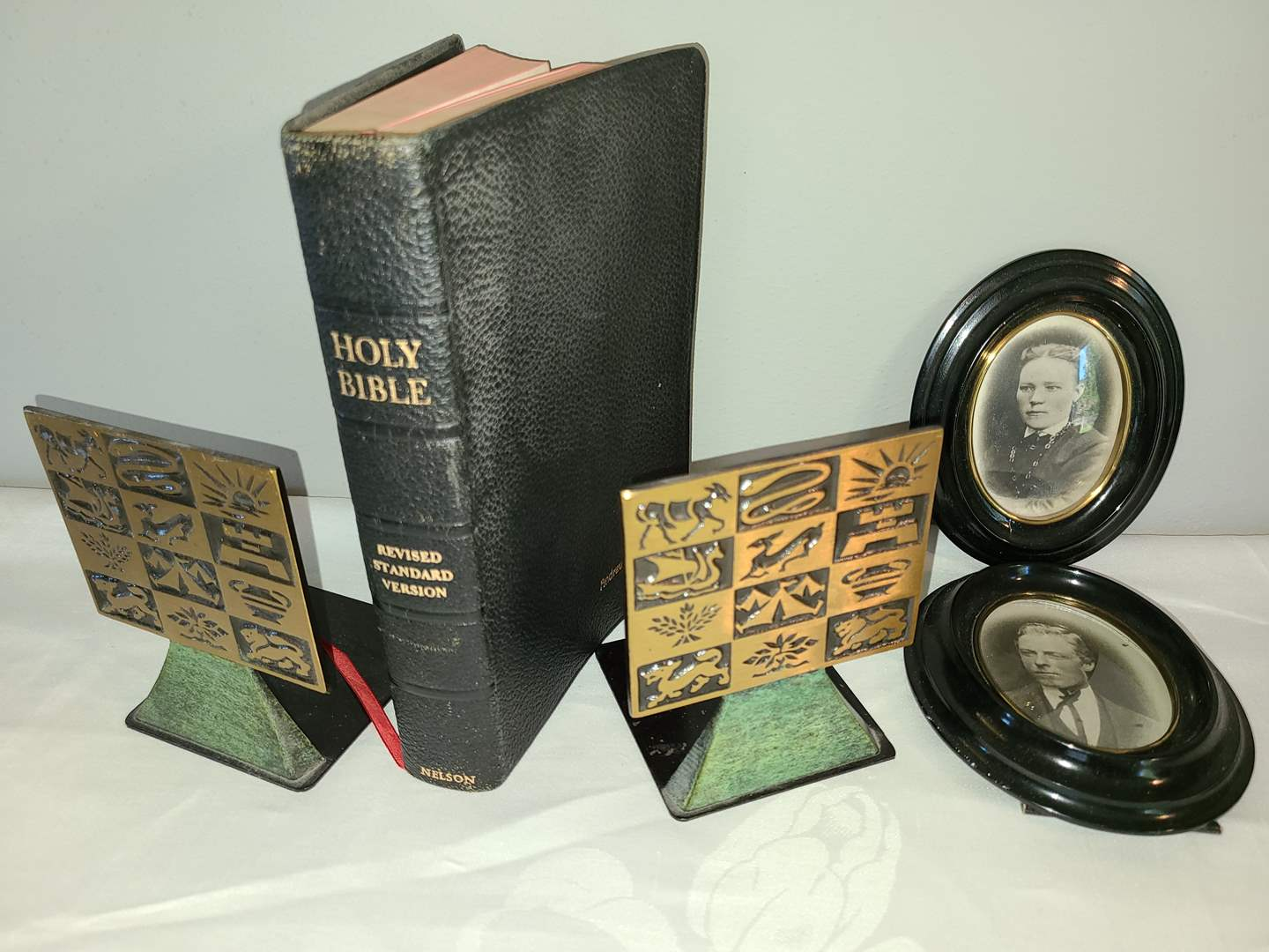 Lot # 167 - Holy Bible Revised Standard Version 1953 in Excellent Condition * Made in Israel by Dayagi Book Ends (main image)