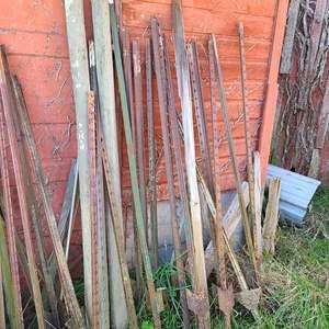 Lot # 16 - Tools * Steel U Posts / Metal Barbed Wire Fence Post * Wood Round Posts