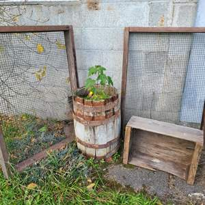 Lot # 19 - Wooden Box * 2 Framed Screens * Small barrel planter with loose rings