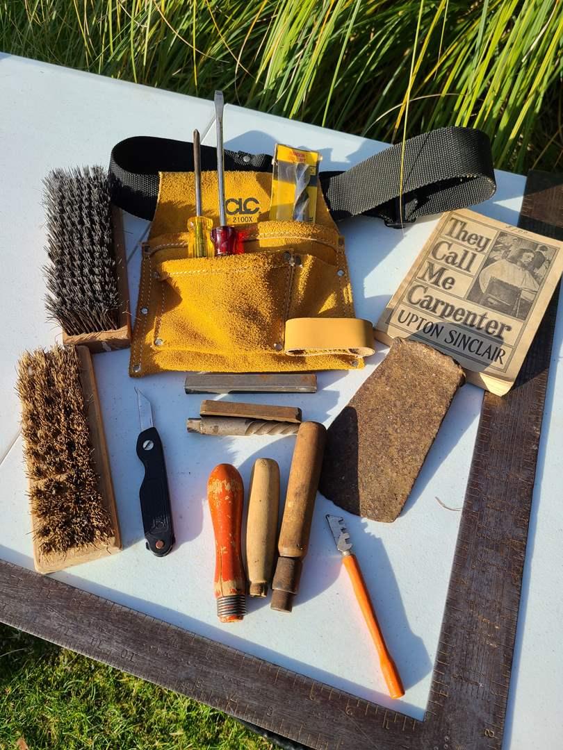 Lot # 23 - New Tool Belt * New Bit * Screwdrivers * Brushes * File Handles * 1922 Vtg Carpenter Book (main image)