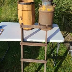 Lot # 24 - Outdoor Lot * Wooden Level * Milk Can * Wooden Planter * Decorative Garden Ladder