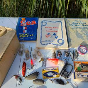 Lot # 26 - Boating / Fishing Lot * 1947 Pacific Coast Yacht Rigister * Fish Scale * Lures & Weights * San Juan Current Guide
