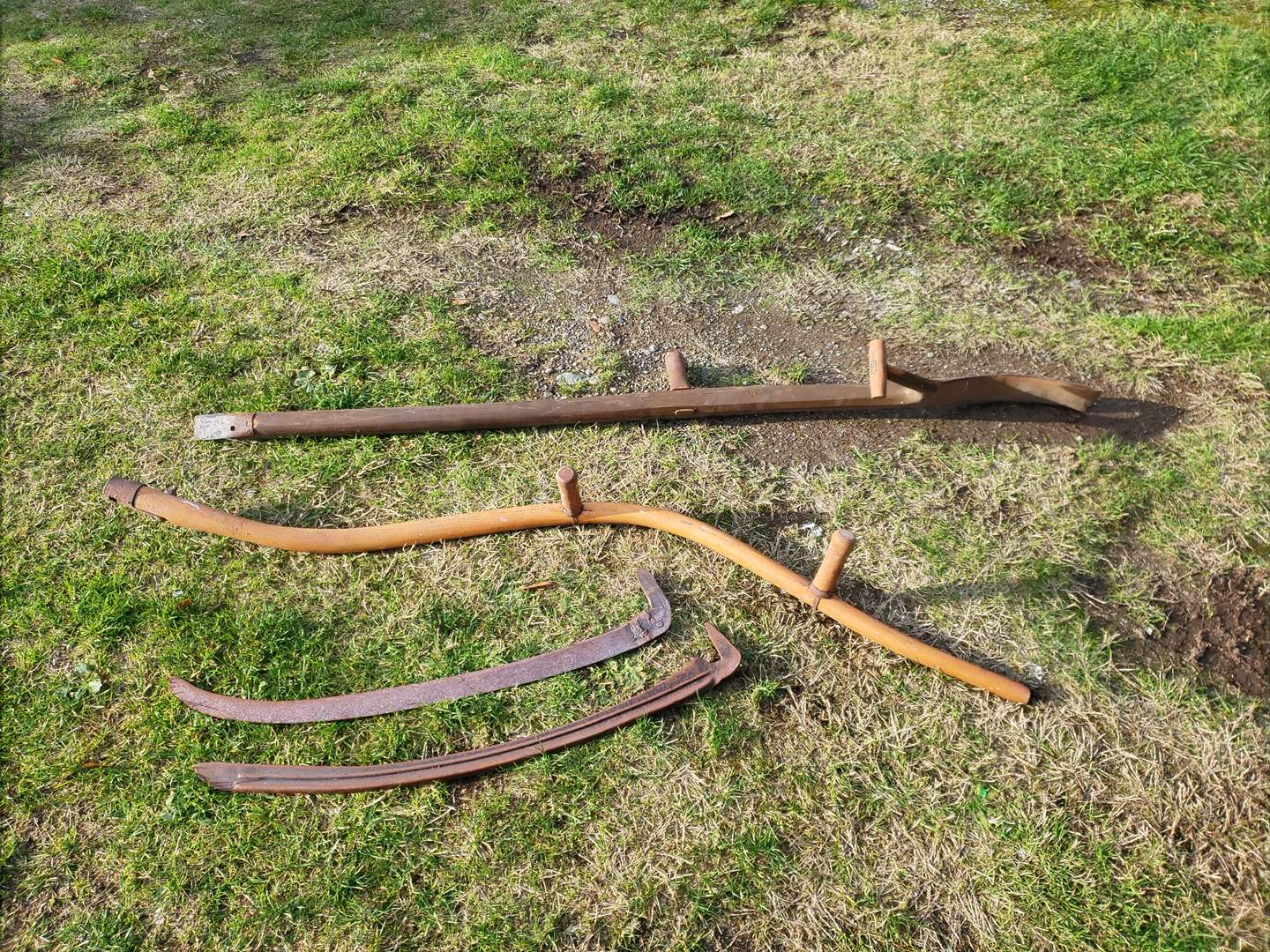 Lot # 27 - 2 Long Handle Rustic Antique Scythe Hay / Grass Sickle cutter Farm Tools (main image)