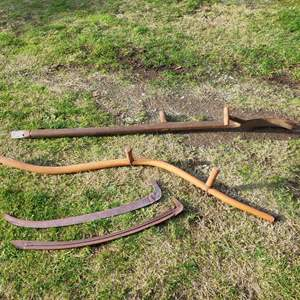 Lot # 27 - 2 Long Handle Rustic Antique Scythe Hay / Grass Sickle cutter Farm Tools