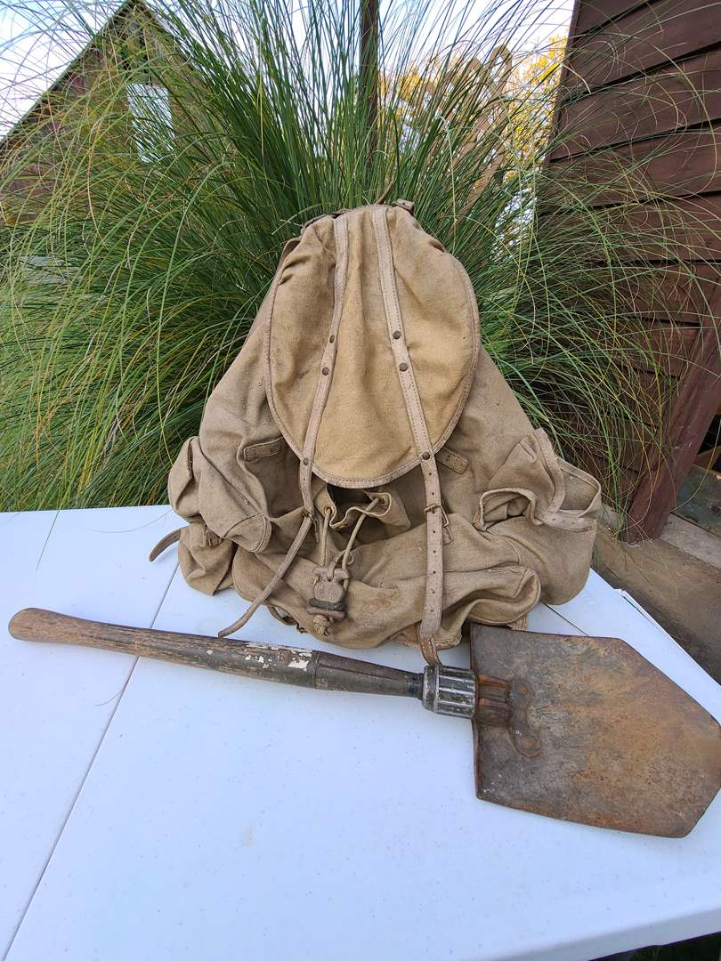 Lot # 3 - Old Military Bergans Backpack Rucksack made in Oslo Norway * Folding Entrenching Tool Shovel (main image)