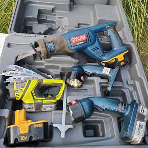 Lot # 11 - Tools * Ryobi Sawzall * Flashlights * 4 Batteries