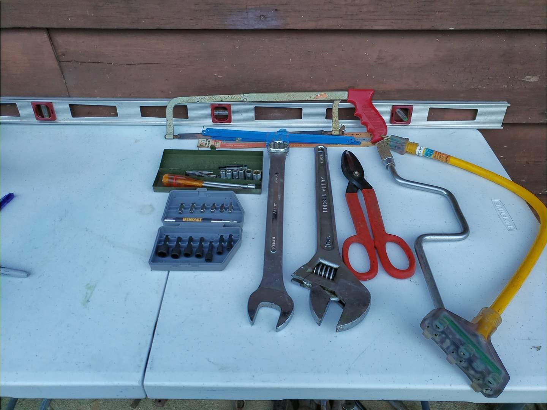 Lot # 36 - Tools * Crescent Wrench * Dewalt Bit Set * Tin Snips * Socket Set (main image)
