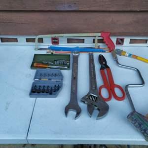 Lot # 36 - Tools * Crescent Wrench * Dewalt Bit Set * Tin Snips * Socket Set