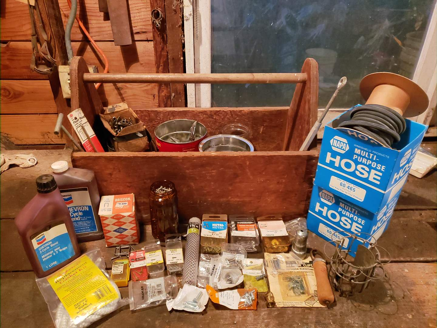 Lot # 8 - Tools * Awesome Old Wooden Handled Tool Box * Hose * Oil * Misc. Screws * Box of Cotter Pins (main image)
