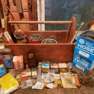 Lot # 8 - Tools * Awesome Old Wooden Handled Tool Box * Hose * Oil * Misc. Screws * Box of Cotter Pins