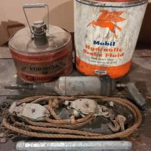 Lot # 41 - Tools * Vintage Fluid Metal Tins * Towing Supplies & Rope