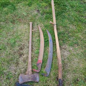 Lot # 9 - Tools * Rustic Antique Scythe Hay / Grass Sickle cutter Farm Tool * 2 Banko Vintage Made in Sweden Blades