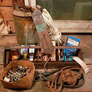 Lot # 28 - Tools * Vintage Scale * Vintage Container * Box of nuts, bolts and screws * Ropes and More