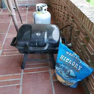 Lot # 32 - BBQ * Propane Tank * Half Bag of Hickory Chips