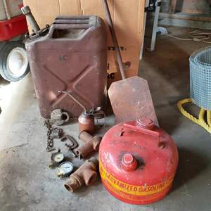 Lot # 65 - Tool * Vintage Gas Cans, Locks, Gauges, Pipes, C Clamp, Oil Can