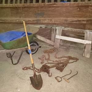 Lot # 67 - Wheelbarrow * Hay Hooks * Shovel * Pulley