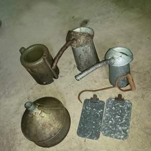 Lot # 73 - 3 Vintage Metal Oil Cans ( 4 quart & 5 quart ) * Funnel * Vintage Hay Hook * 2 Metal Clip Boards