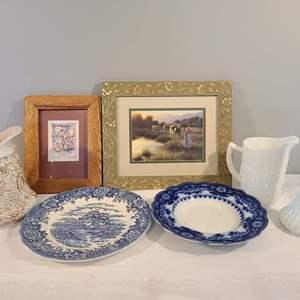 "Lot # 77 - Triple ""P"" Lot * Collector PLATES - English Village (1) * Vintage PITCHERS - England (1) * PICTURES"