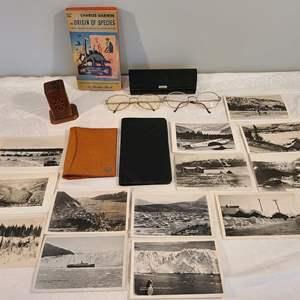 Lot # 78 - Nice Pigskin Bi-Fold Men's Wallet * Black Larger Bi-fold Leather Wallet * Black & White Photos 1920's-1950