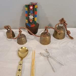 "Lot # 79 - Georg Jensen Denmark Small Sterling Silver Tongs * 6"" Sterling Spoon by J. Tostrup Norway * Bells"