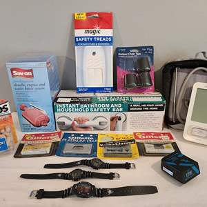 Lot # 82 - Personal * Blood Pressure Cuff * New Water Bottle * New Ear Plugs (opened) Old New Schick & Gillette Razor Blades
