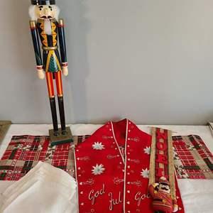 Lot # 88 - Christmas Lot * Nutcracker * Vintage NOEL Hanging God Full Runner * Homemade Ribbon Runner