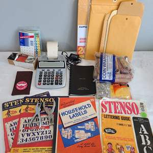 Lot # 90 - Household / Office Lot * Stenso Lettering * Adding Machine * Calculator * Mailing Folders * Wear a Mustache Button