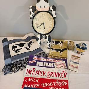 Lot # 93 - Wonderful Cow Lot from the Farm * Cow Clock * Cow Afghan * Wonderful Bumper Stickers