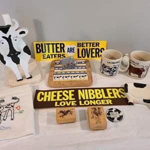 Lot # 94 - Another Cow Theme Lot * Bumper Stickers * La Vache & La Bulle Mugs * Wooden Cow Paper Towel Holder
