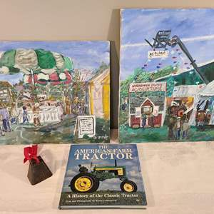 Lot # 95 - The American Farm Tractor Coffee Table Book * 2 16 x 20 Paintings * Small Cow Bell *