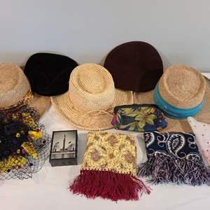 Lot # 97 - Vintage Hats & Scarves * Scala Straw Hat * Small Decorative Box