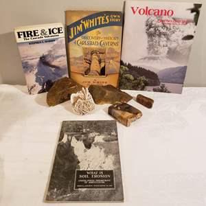 Lot # 111 - Petrified Wood * Selenite Desert Rose Stone  * Vtg Books * Carlsbad Caverns * Volcanoes * Soil Erosion